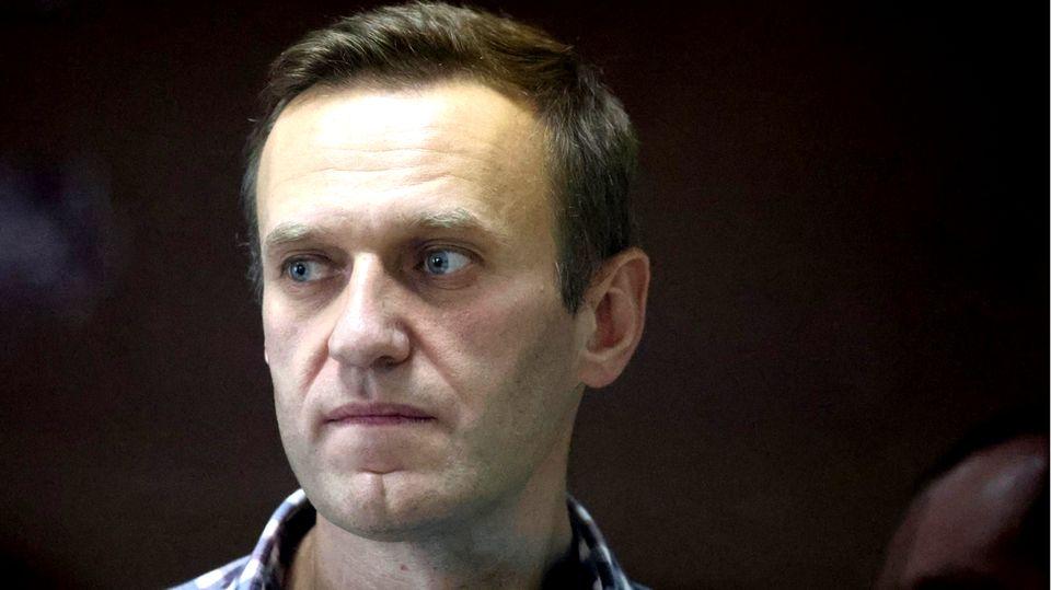 Alexej Nawalny während einer Gerichtssitzung in Moskau