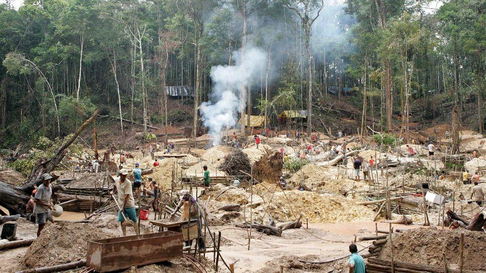 Garimpeiros trabalham nas margens do rio Juma