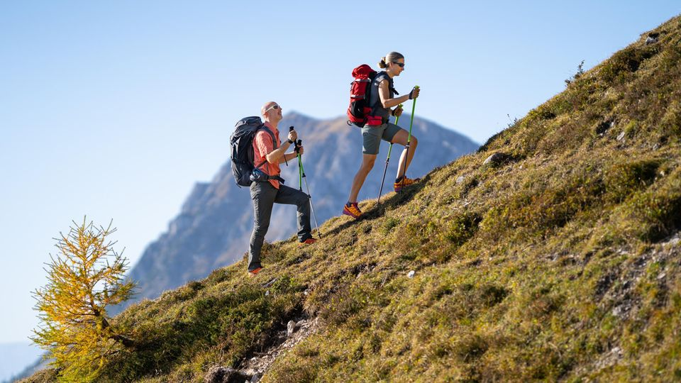 Wanderoutfit: Mann und Frau klettern mit Stöcken einen Grashang hinauf