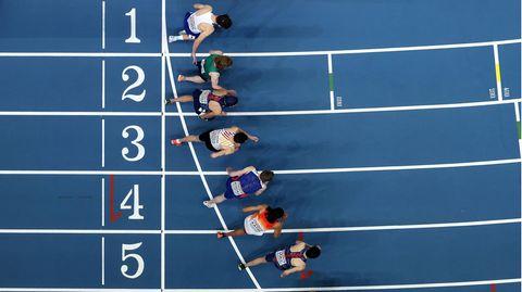 Warten auf den Startschuss: Läufer bei denLeichtathletik-Hallen-Europameisterschaften in Torun