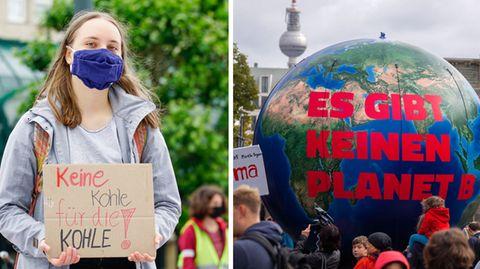 FFF-Klimaaktivistin Annika Kruse (l.) - Globaler Klimastreik in Berlin (r.)
