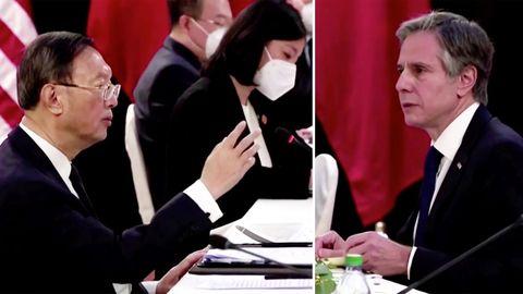 Schlagabtausch vor laufender Kamera: Chinesische und US-Diplomaten geraten öffentlich aneinander