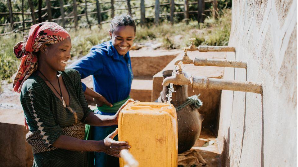 Eine von Viva con Agua gebaute Wasserentnahmestelle in Äthiopien