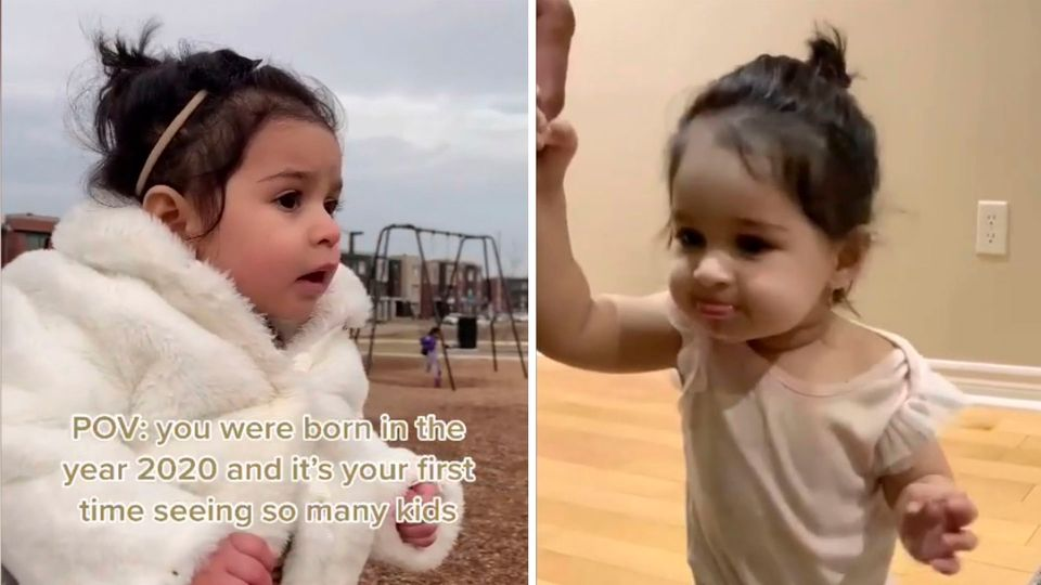 1-Jährige verblüfft andere Kinder zu sehen – Geboren in der Pandemie