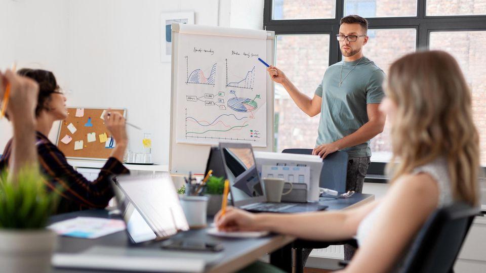 Ein junger Mann steht an einem Flipchart und erklärt zwei sitzenden Frauen eine Grafik