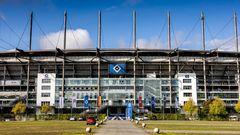 Das Hamburger Volksparkstadion an der Sylvesterallee 7 von außen