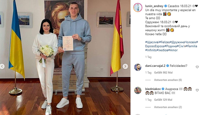 Vip News: Real Madrid Torhüter Andrey Lunin heiratet im Jogginganzug