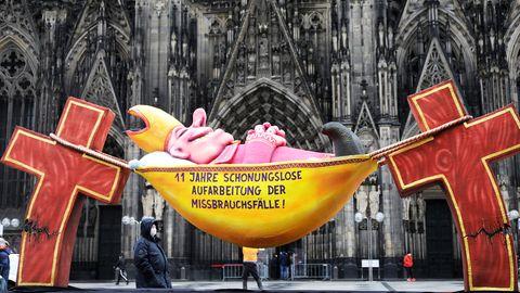 Protest vor dem Kölner Dom