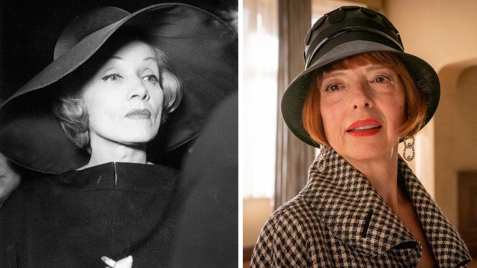 Links: Marlene Dietrich während einer Pressekonferenz im Mai 1960 in Berlin. Rechts: Helen Schneider als emigrierte SängerinHannelore Lay.