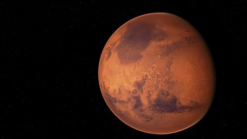 Der Planet Mars in voller Ansicht.