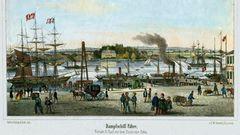 Ab 1866 zog der Hafen an den Sandtorkai und verlagerte sich immer weiter an die Elbe. An den Landungsbrücken sah es um 1870noch so aus.