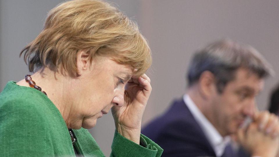 Angela Merkel und Markus Söder nach den Oster-Lockdown-Beratungen