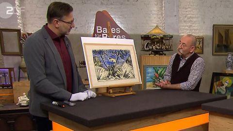 Detlev Kümmel und Horst Lichter stehen im Bares für Rares Studio in Pulheim und betrachten das Gemälde