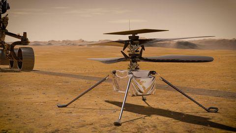 Simulation des Mars-Hubschraubers Ingenuity.