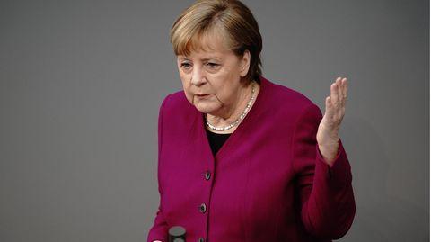Bundeskanzlerin Angela Merkel während der Regierungserklärung im Bundestag am 25.3.2021