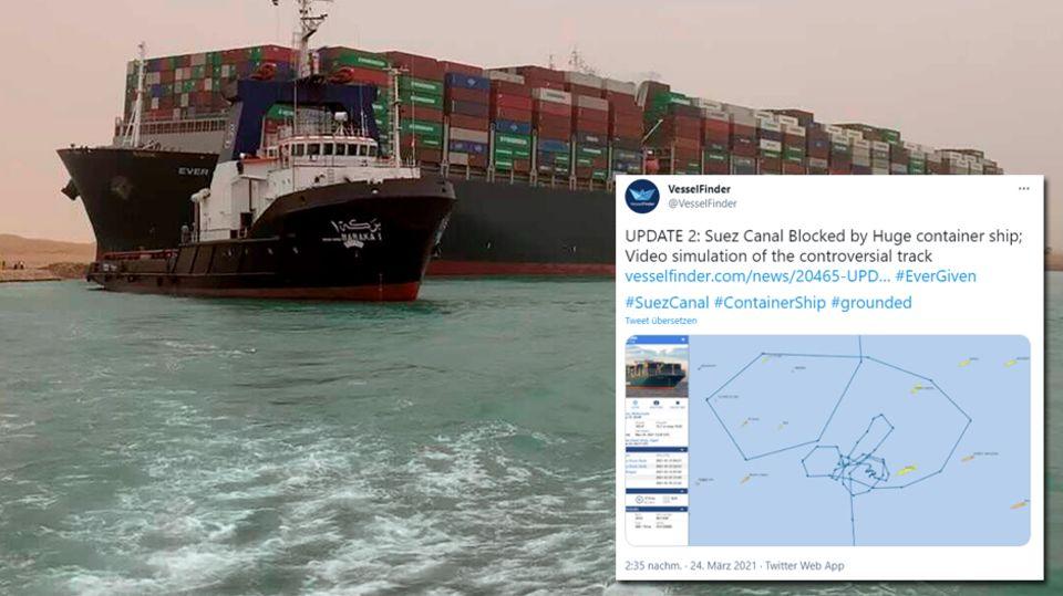 Frachter im Suezkanal