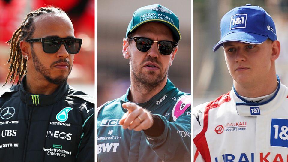 Die Weltmeister und der berühmte Lehrling: Lewis Hamilton, Sebastian Vettel und Mick Schumacher