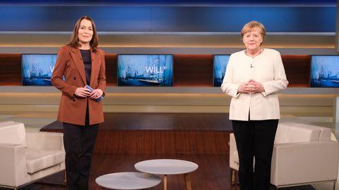 Anne Will und Angela Merkel