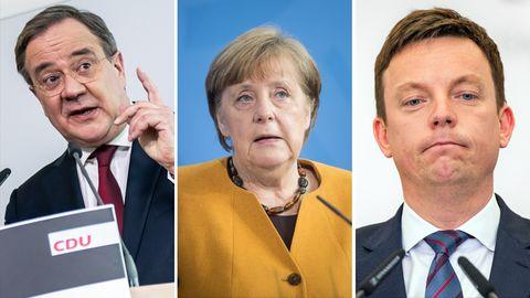 NRW-Ministerpräsident Armin Laschet (CDU, l.),  Bundeskanzlerin Angela Merkel (CDU, M.), Ministerpräsident Tobias Hans (CDU, r.)