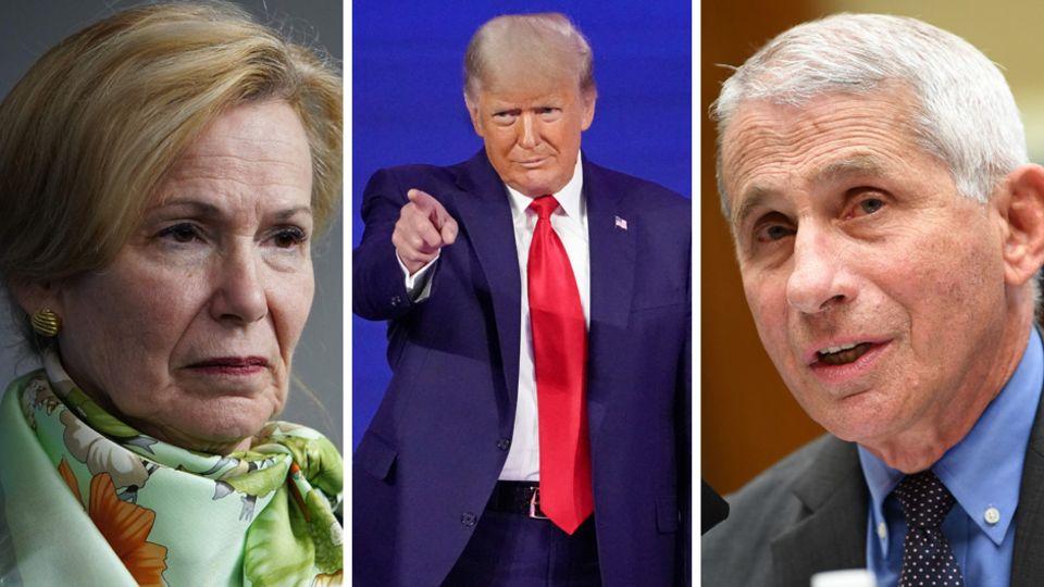 Die US-Gesundheitsexperten Deborah Birx (l.) und Anthony Fauci (r.) und der frühere US-Präsident Donald Trump