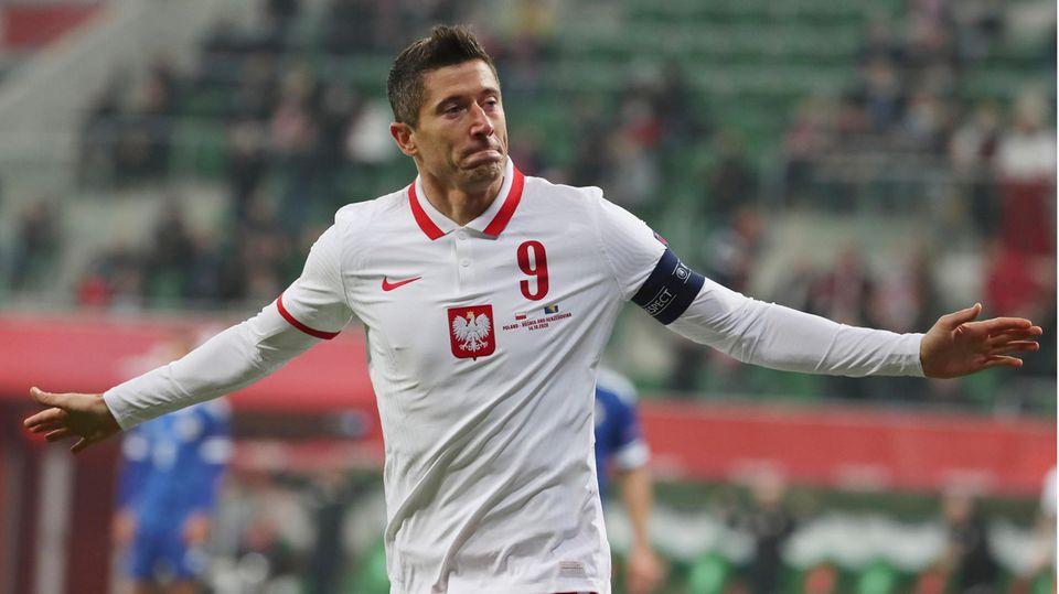 Robert Lewandowski verletzte sich bei seinem Einsatz für die polnische Nationalelf