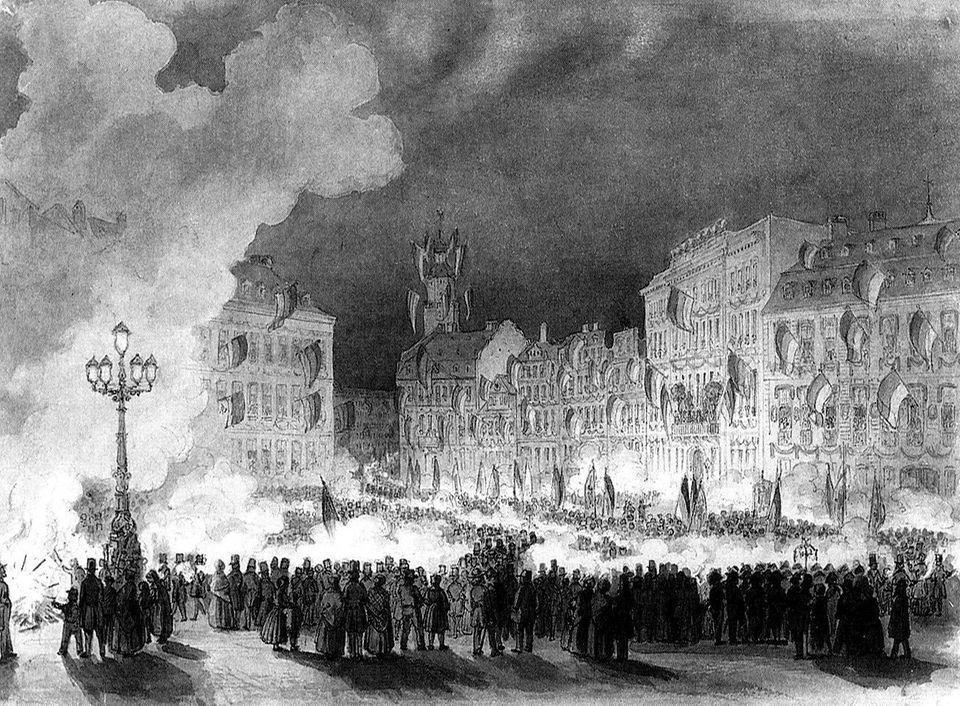 Fackelzug auf dem Frankfurter Roßmarkt zum Empfang des Vorparlaments