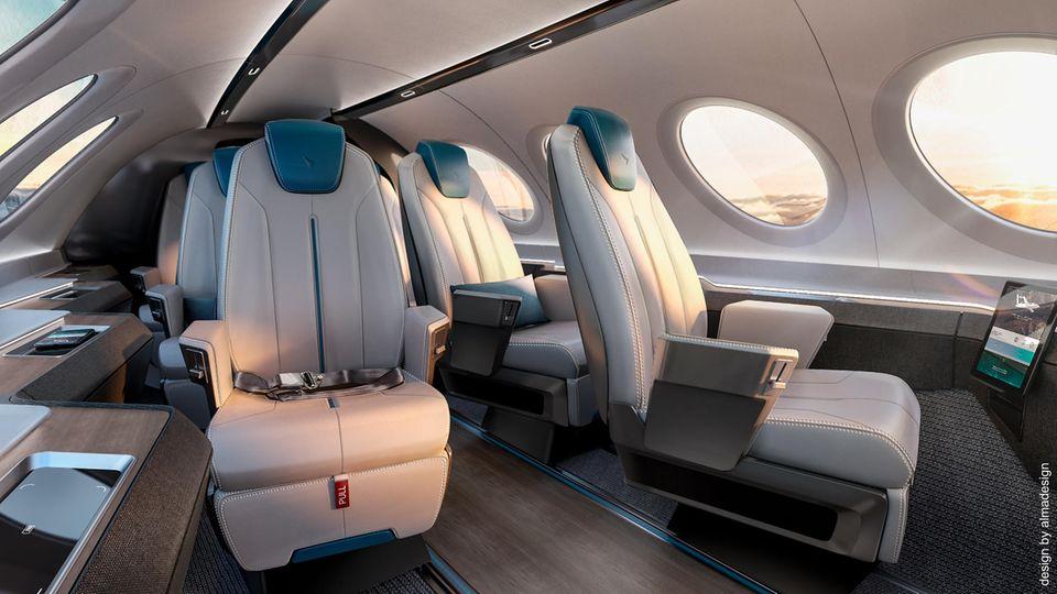 Kategorie: Kabinenkonzepte  Die Firma Almadesign aus Portugal ist fürKabinenkonzept mit Fischgrät-Anordnung der Sitze ausgezeichnet worden, diefür das erste rein elektrisch betriebene Zubringerflugzeug Alice des israelischen Unternehmens Eviation Aircraft gedacht ist.
