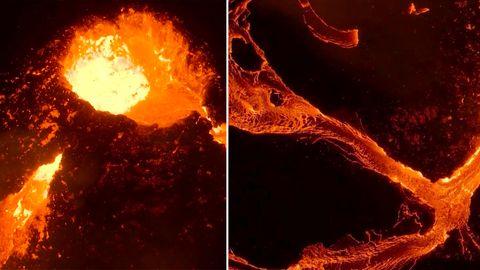 Beeindruckende Drohnen Aufnahmen von einem aktiven Vulkan