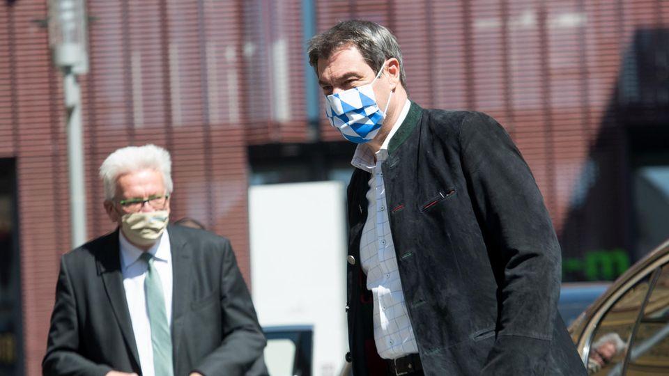 Coronavirus: Baden-Württembergs Ministerpräsident Winfried Kretschmann (Grüne) und Bayerns Regierungschef Markus Söder