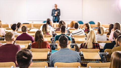 Ein Professor unterrichtet in einem Uni-Seminar