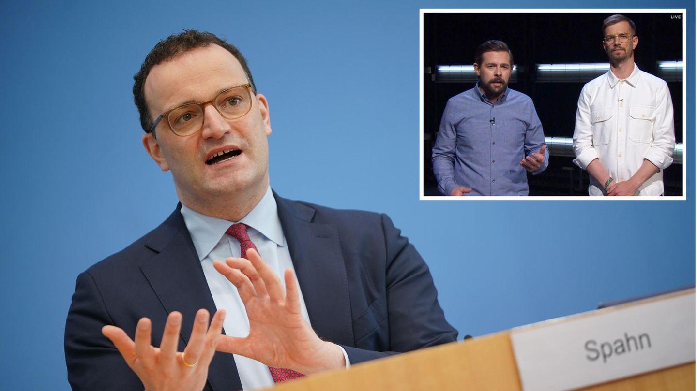 Bundesgesundheitsminister Jens Spahn (CDU); Joko und Klaas, die Initiatoren der Pflegedoku bei ProSieben