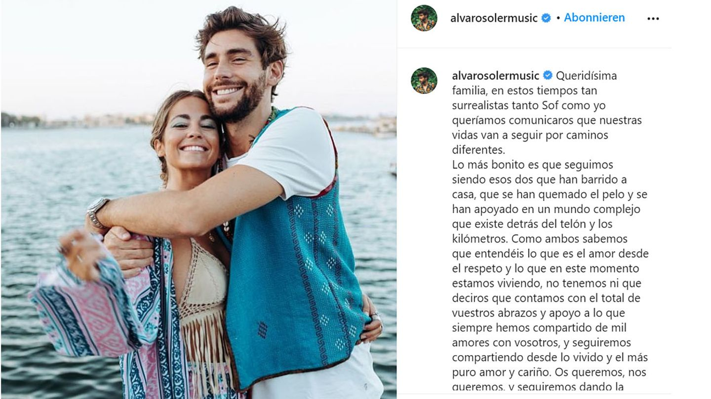 Vip News: Alvaro Soler gibt Trennung von Freundin Sofia bekannt