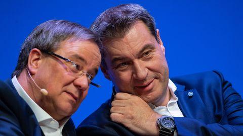 Die K-Frage der Union entscheidet sich zwischen Armin Laschet (CDU, l)und Markus Söder (CSU)