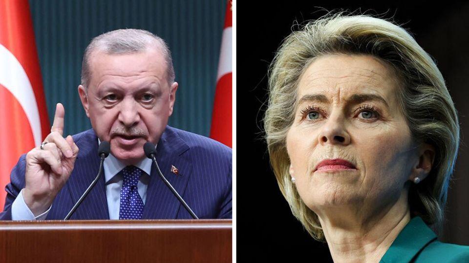 Der türkische Präsident Recep Tayyip Erdogan (l.) und EU-Kommissionschefin Ursula von der Leyen (r.)