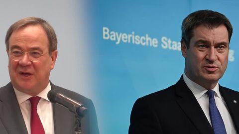 Eine Bild-Kombo zeigt links Armin Laschet und rechts Markus Söder jeweils während einer Rede