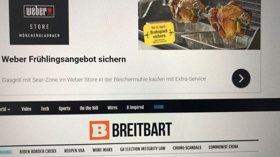 """Werbung für Weber auf """"Breitbart"""""""
