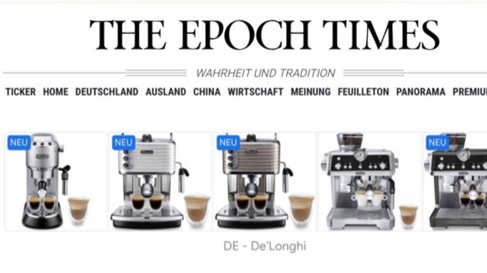 """Werbung für D'Longhi auf der """"Epoch Times"""""""