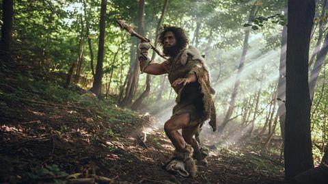 Steinzeitmensch bei der Jagd