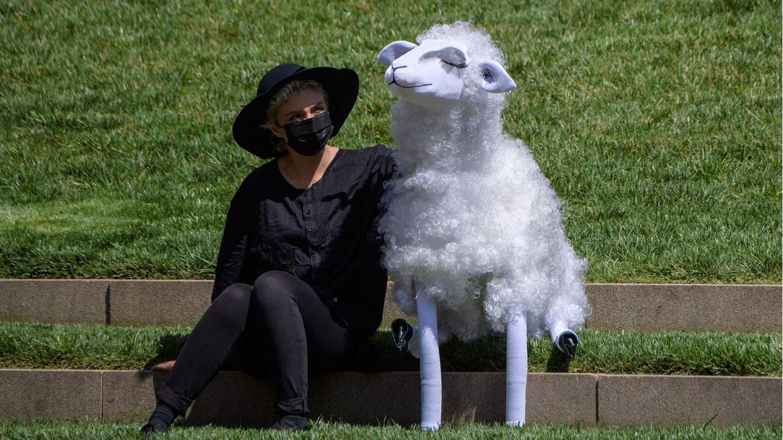 New York, USA. Eine Puppenspielerinsitzt mit einer Schafspuppe am Hearst Plaza. Anlass ist einAuftritt der New Yorker Philharmonikerim dort gelegenen Lincoln Center. Die Musiker spielten am Weltgesundheitstag vor 150 Mitarbeitern des Gesundheitswesens, nachdem sie wegen der Corona-Pandemie in den Lockdown mussten.