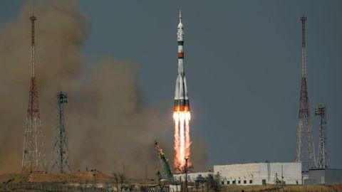 Die Rakete beim Start auf dem Kosmodrom Baikonur