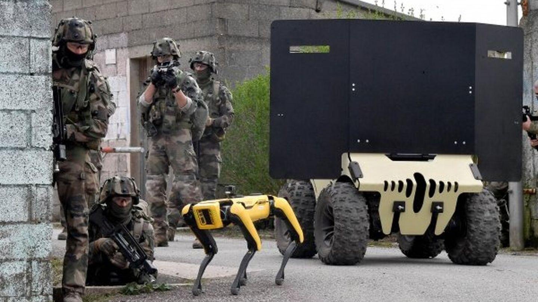Spot beweget sich auf Beinen fort, eine Besonderheit bei Robotern.