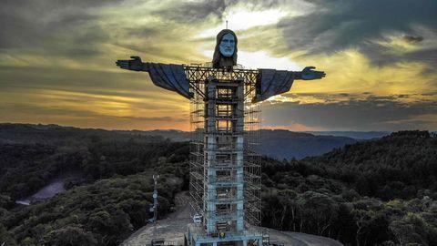 Baustelle der Christus-Statue in Encantado