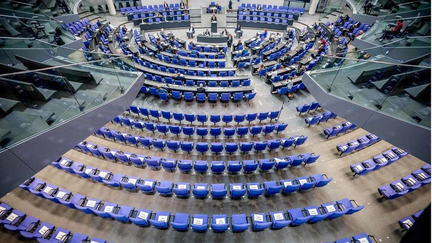 Chairs for the members of parliament, included in the plenary session in the German Bundestag