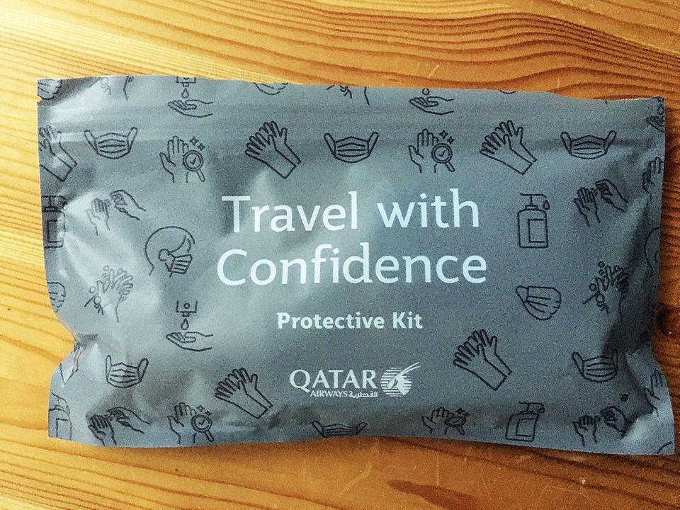 DasHygiene-Kit der Fluggesellschaft erhält jeder Passagier