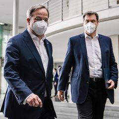 Armin Laschet (l.), Bundesvorsitzender der CDU, und Markus Söder, Bundesvorsitzender der CSU