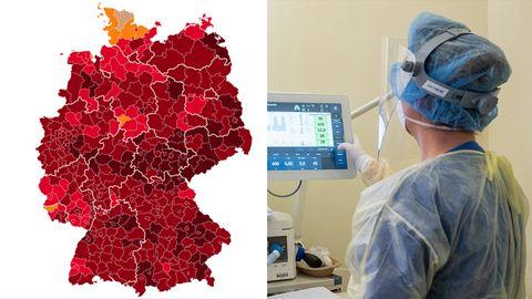 Links zeigt eine Deutschkland-Karte die Landkreise je nach Corona-Lage, rechts drückt eine Intensiv-Pflegerin auf einen Monitor