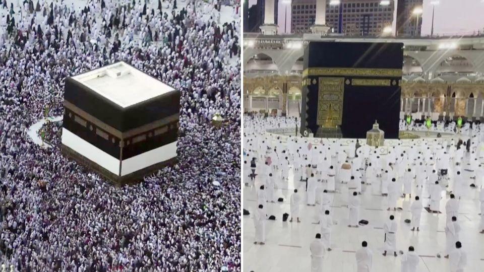 Ramadan: Die Kaaba in Mekka 2019 und 2021.