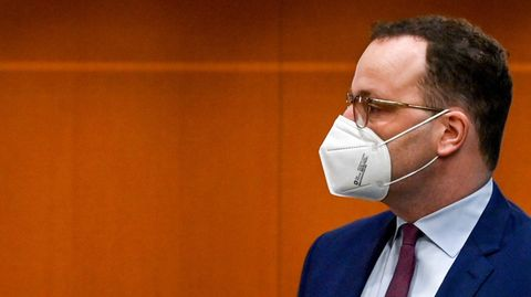 German Health Minister and Christian Democratic Union (CDU) politician Jens Spahn arrives for the weekly cabinet meeting on April 13, 2021 at the Chancellery in Berlin. (Photo by John MACDOUGALL / various sources / AFP)