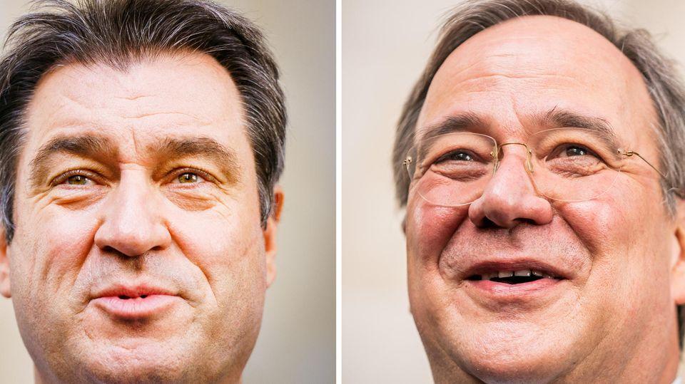 Eine Kombo zeigt links das Gesicht von Markus Söder in Großaufnahme, rechts das von Armin Laschet