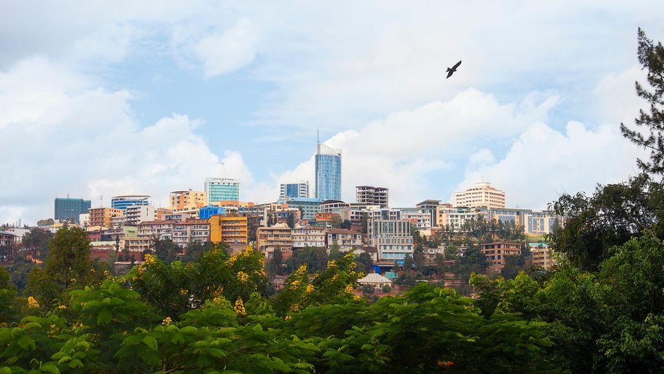 Das Geschäftsviertel von Kigali, der Hauptstadt von Ruanda